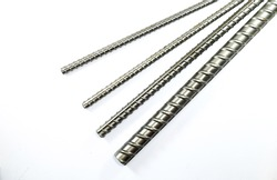 Deformed steel bar for construction  isolated on a white backgro