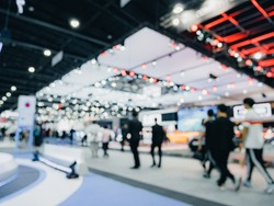 Defoused bokeh lights background of event exhibition, Business s