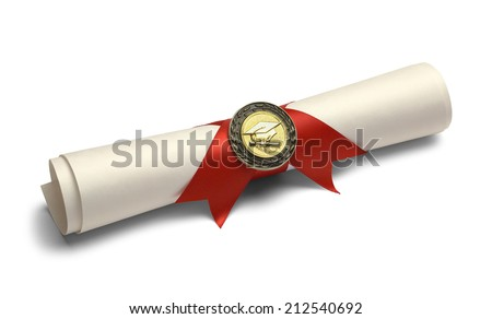 Degree Scroll with Red Ribbon and Diploma Medal Isolated on White Background.