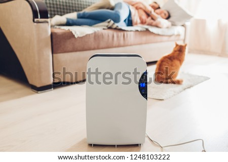 Dehumidifier with touch panel, humidity indicator, uv lamp, air ionizer, water container works at home while people relaxing with cat. Air dryer