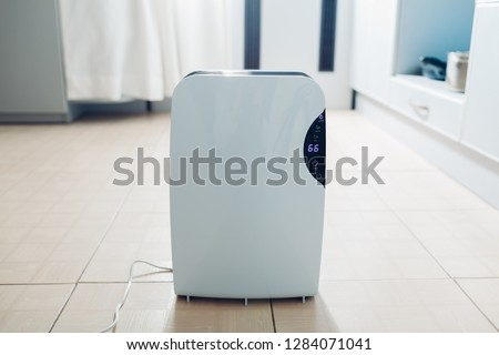 Dehumidifier with touch panel, humidity indicator, uv lamp, air ionizer, water container works at home on kitchen. Air dryer