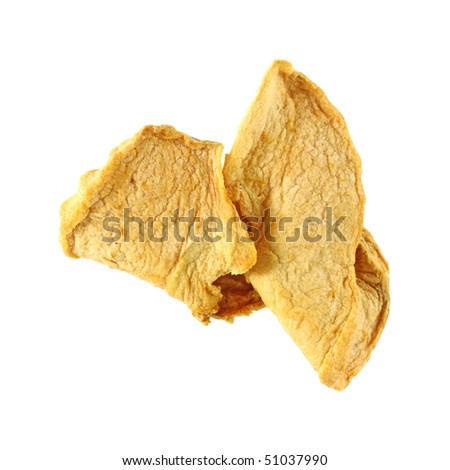 Dehydrated apple on white background