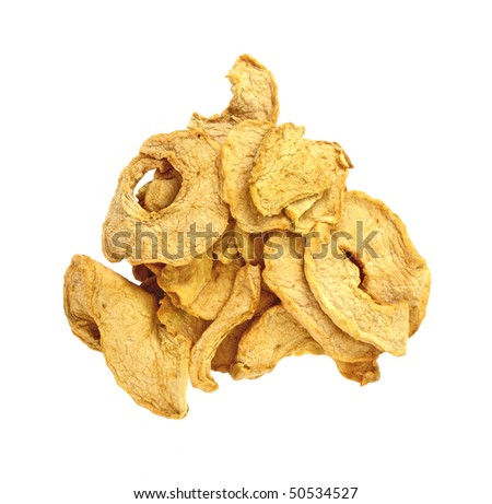 Dehydrated apple slices on white background
