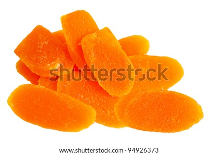 Dehydrated Dried Mango slices isolated on white background
