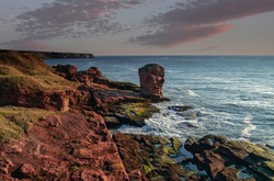 Deil's Heid (Devil's Head) Red sandstone sea stack at Seaton Cliffs during a colourful sunrise at Arbroath east coast of Angus, Scotland.