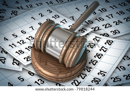 Delayed justice in the court system represented by a judge mallet on a bed of calendar pages showing how slow the law can be while waiting for procedures or sentence.