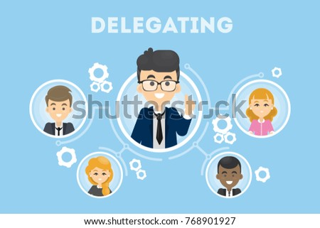Delegating business illustration. Idea of business oragnization and communication.