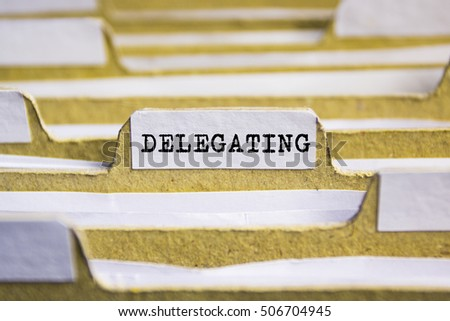 Delegating word on card index