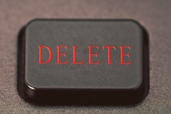 Delete button on the keyboard close-up Photo, text in red, warning against accidental deletion