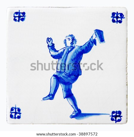 delft blue, drinking man