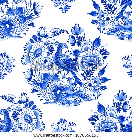 Delft blue style watercolour seamless pattern. Traditional Dutch floral motif, paradise bird among beautiful flowers, cobalt on white background. Wallpaper. Textile print.