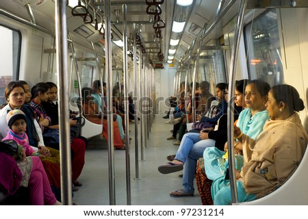 DELHI, INDIA - FEB 03, 2012: Women-Only Subway Cars on Feb 03, 2012 in Delhi. Delhi Metro network consists of six lines with a total length of 189.63 kilometres (117.83 mi) with 142 stations