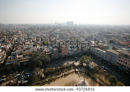 Delhi, India - 11 February. View of Old Delhi from Jama Masjid minaret on 11 Feb, 2008. An overly-built and populated capital has its affects on air pollution, especially during summer.
