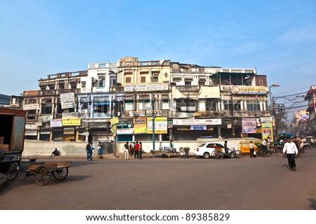 DELHI, INDIA - NOV 9: street scene in Chawri Bazar, the market area on November 09,2011 in Delhi, India. Established in 1840, with a hardware market, it was the first wholesale market of Old Delhi.