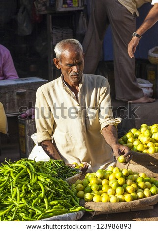 DELHI, INDIA - OCT 16: Chawri Bazar is a specialized wholesale market of food and vegetables on October 16, 2012 in Delhi, India. Established in 1840 it was the first wholesale market of Old Delhi.