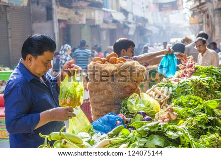DELHI, INDIA - OCT 16: Chawri Bazar is a specialized wholesale market of food and vegetables on Oct 16, 2012 in Delhi, India. Established in 1840 it was the first wholesale market of Old Delhi.
