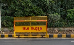 Delhi India Police Traffic Barricades on the side of the Road