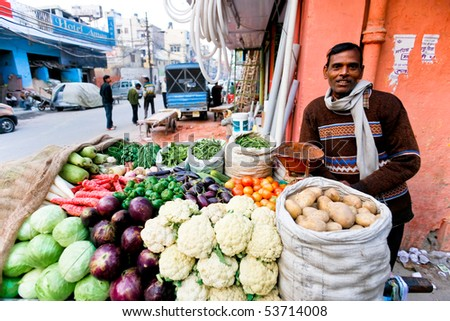 DELHI - JAN 31: Vegetable street vendor with his mobile stand on January 31, 2008 in Delhi, India. Most mobile vendors are illegal and have to either run away from the police or pay them bribes.