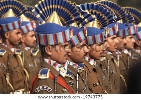 DELHI - JANUARY 18: Soldiers in best dress uniform marching down the RajPath in preparation for the Republic Day Parade January 18, 2007 in Delhi, India
