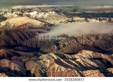 Delhi-Leh flight; Himlayan ranges from a flight window; High altitude pic of Great Himalayan ranges; Morning scene in mountains