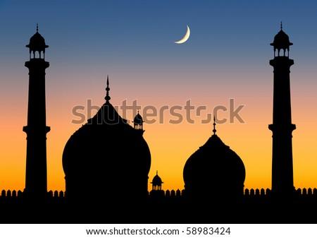 Delhi Mosque twilight