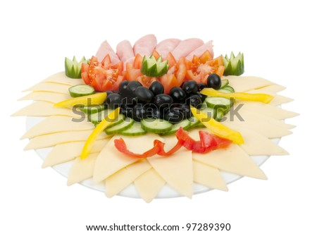 deli cheese on plate isolated on white background