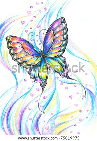 Delicate, colorful butterfly with small hearts in background.Picture I have create myself with colored pencils.