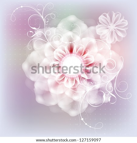 Delicate floral postcard with a wedding day. Raster copy of vector image