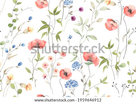 Delicate floral seamless pattern with wildflowers, abstract plants and flowers. Colorful watercolor illustration meadow on white background. Foto stock ©