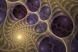 Delicate gold and purple abstract spiral design on black background