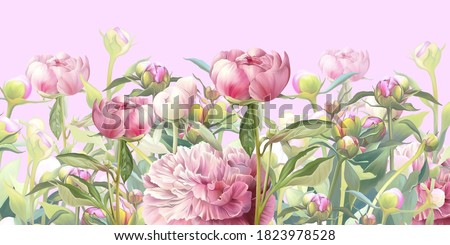 Delicate pink flowers illustration. Peonies painted on the pink background. Beautiful postcard, picture, mural, wallpaper, photo wallpaper, wedding invitation design. Foto stock ©