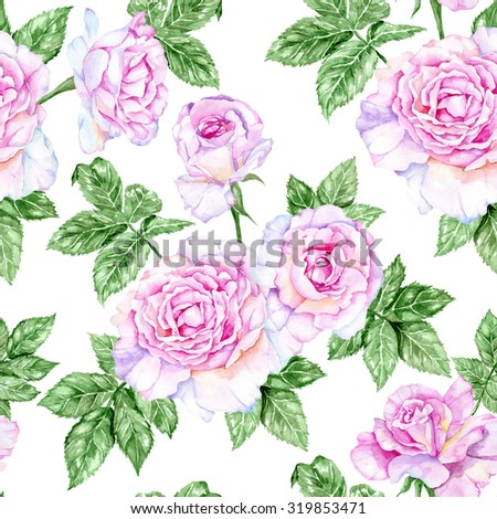 Delicate pink roses. Watercolor seamless pattern