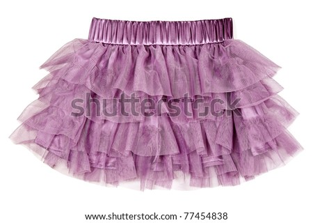 delicate purple skirt isolated on white background
