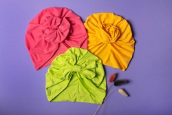 Delicate three bright turbans for women, girls or baby. Turban fashion or bandana hair accessories for the beach and travel.