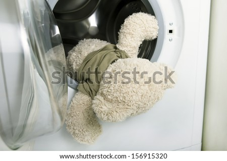delicate washing soft toys: soft toy falling out of a washing machine (fluffy toy in the washing machine)