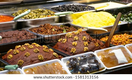 delicatessen counters for breakfast items are sold in turkey.