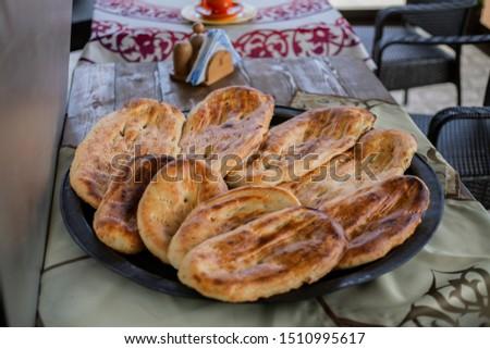 Delicious and delicious tandir bread in the heart