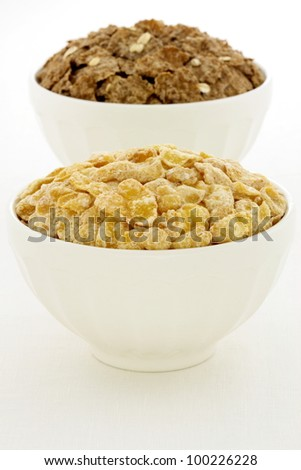 delicious and healthy frosted with sugar corn flakes and bran flakes, served in a beautiful French Cafe au Lait Bowl
