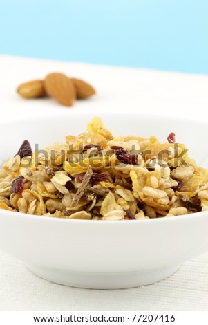 delicious and healthy wholegrain muesli breakfast, with lots of dry fruits, nuts and grains
