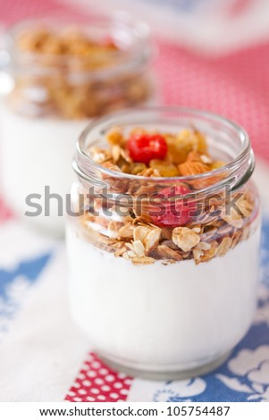 delicious and healthy yogurt with granola