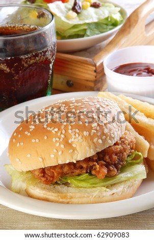 Delicious and juicy chicken burger