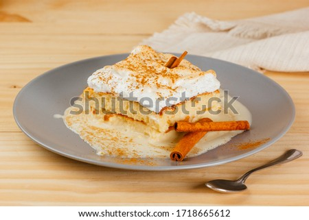 Delicious and juicy Three milk cake with a little cinnamon, typical Latin American dessert Zdjęcia stock ©