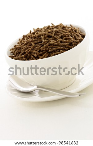 Delicious and nutritious cereal, high in bran, high in fiber, served in a beautiful  French Cafe au Lait Bowl with wide rims. This healthy bran cereal will be an aid to digestive health.
