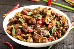 Delicious and spicy meat roast from Asian cuisine,