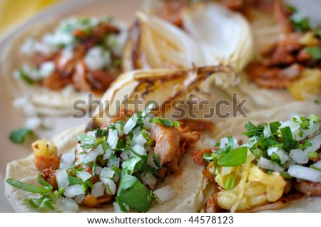 Delicious and Tasty Authentic Mexican Street Tacos - stock photo