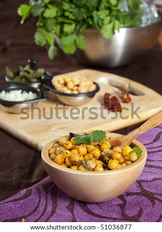 Delicious appetizer with chickpeas and cilantro