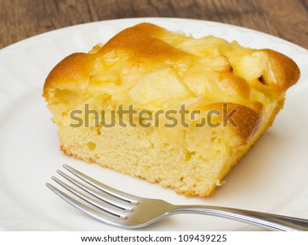 Delicious apple cake with fork on white plate