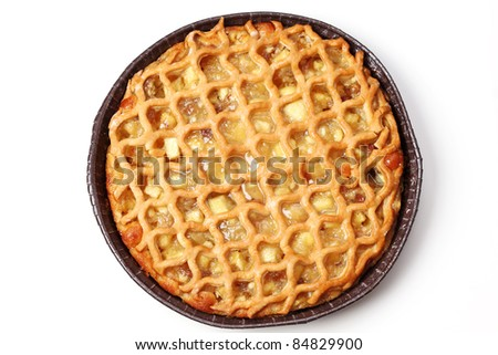 Delicious apple pie on white background
