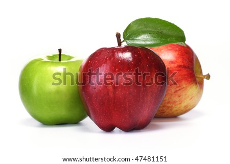 Delicious apples  on white