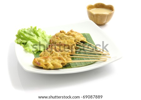 Delicious Asian Cuisine food toast curry pork Satay Isolated on White Background